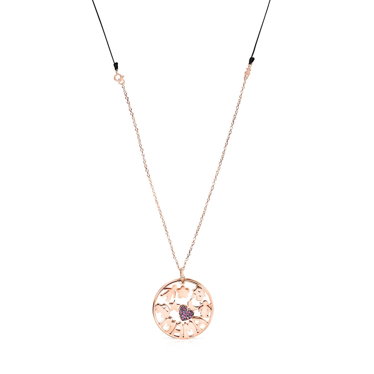 TOUS Mama Necklace in rose Gold Vermeil with Ruby and black Cord