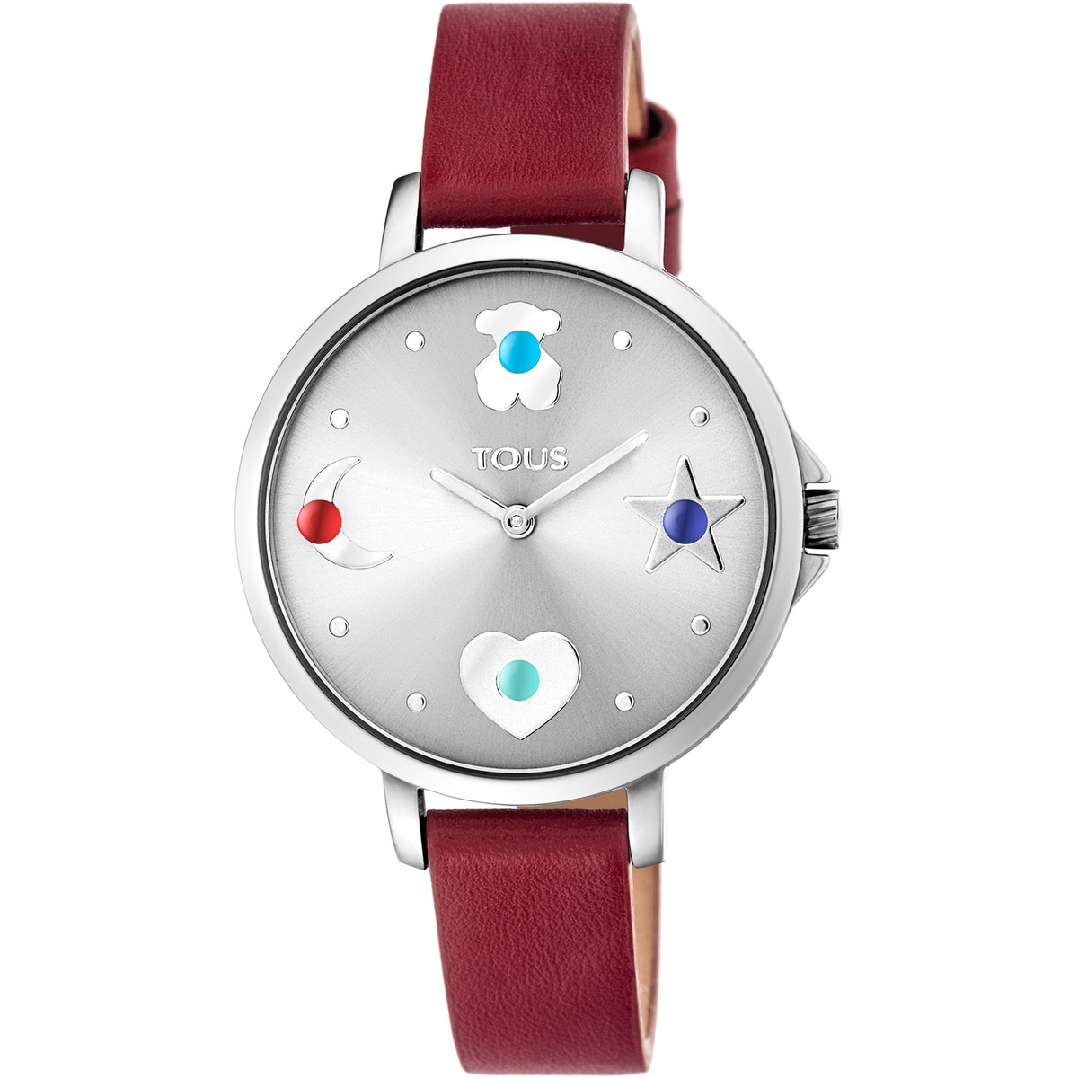 Steel Super Power Watch with red leather strap