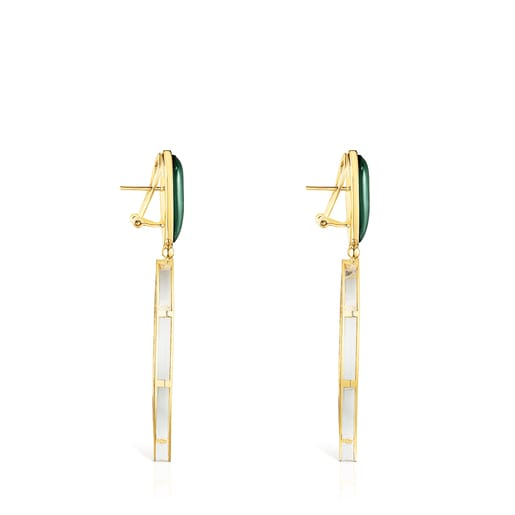 Long Silver Vermeil Fragile Nature Earrings with green Glass
