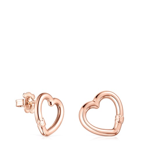 Small Hold heart Earrings in Rose Vermeil