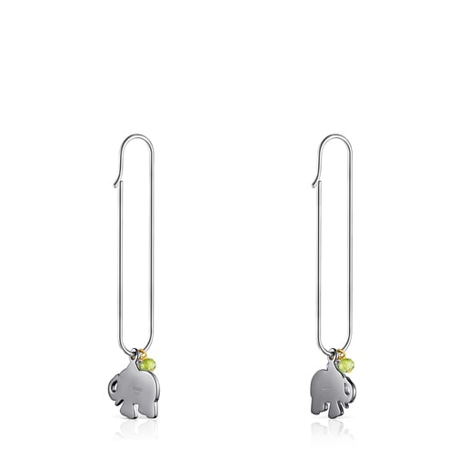Silver and Dark Silver TOUS Good Vibes elephant Earrings with Gemstones