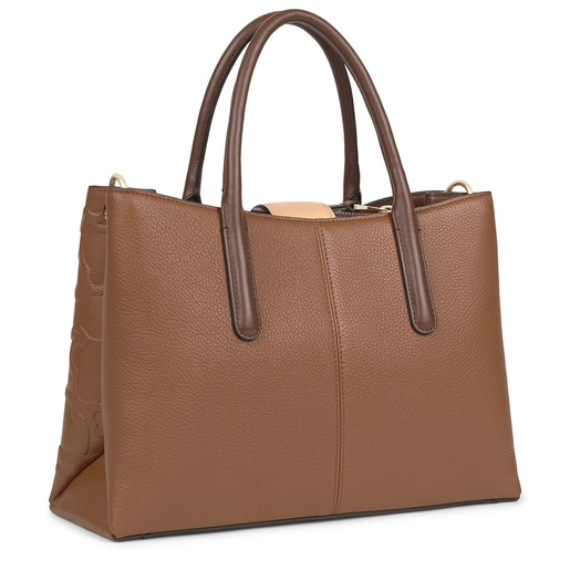 Large brown and beige Leather TOUS Icon City bag