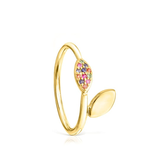 Vermeil Silver with Gemstones Real Mix Leaf Ring