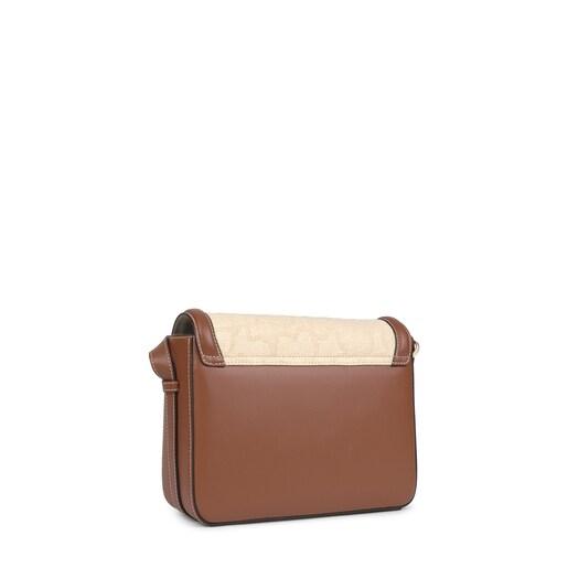 Bandolera mediana TOUS Icon beige y marrón