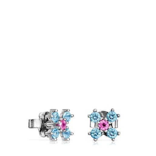 Titanium Real Sisy Earrings with Topaz and Ruby