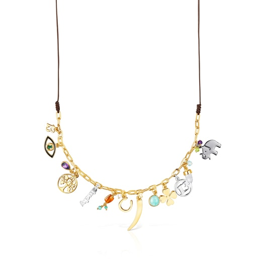 Silver Vermeil TOUS Good Vibes Necklace with Gemstones and brown Cord