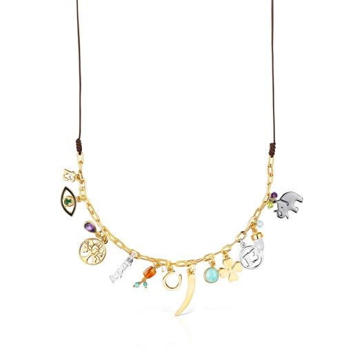 Collar TOUS Good Vibes de plata vermeil, gemas y cordón marrón