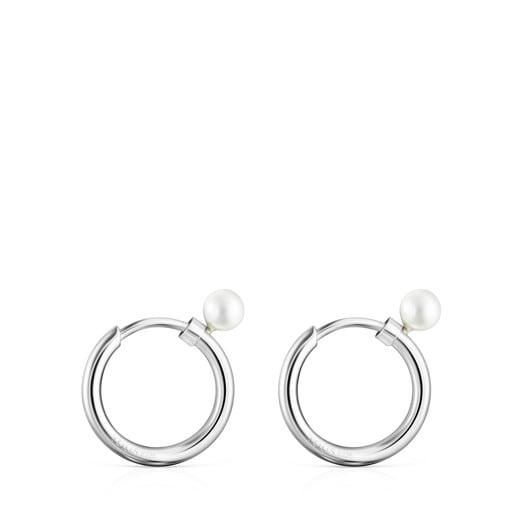Boucles d'oreilles TOUS Basics petites en Argent avec Perle