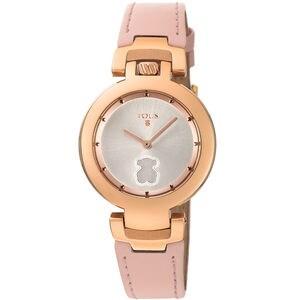 Reloj Crown de acero IP rosado con correa de piel nude