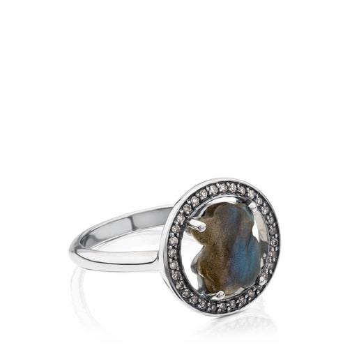 Camille Ring in Silver with Labradorite and Diamonds.