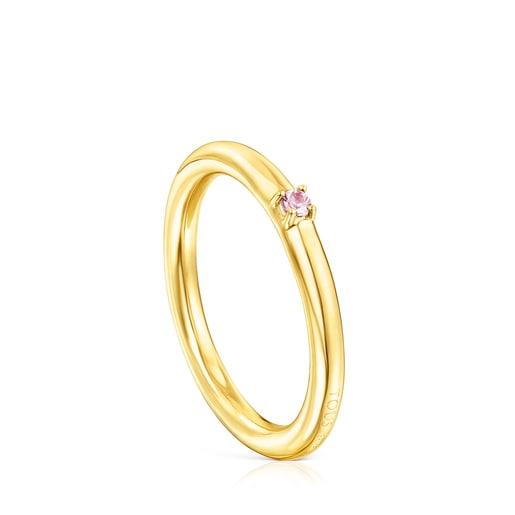 Anillo Ring Mix de plata vermeil y zafiro rosa