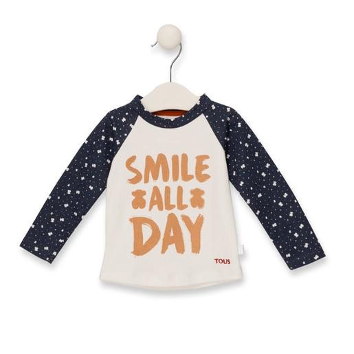 "Camisola M/L ""Smile all day"" Azul Marinho"