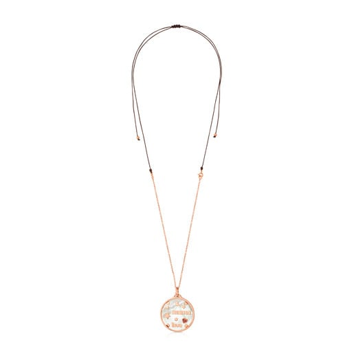 Rose Vermeil TOUS Mama Necklace with Mother-of-Pearl and Ruby