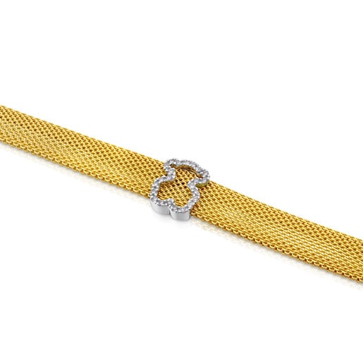 White and yellow gold Icon Mesh Bracelet with Diamonds Bear motif. Total carat weight: 0,14ct.