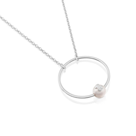 Silver Icon Necklace with Pearl