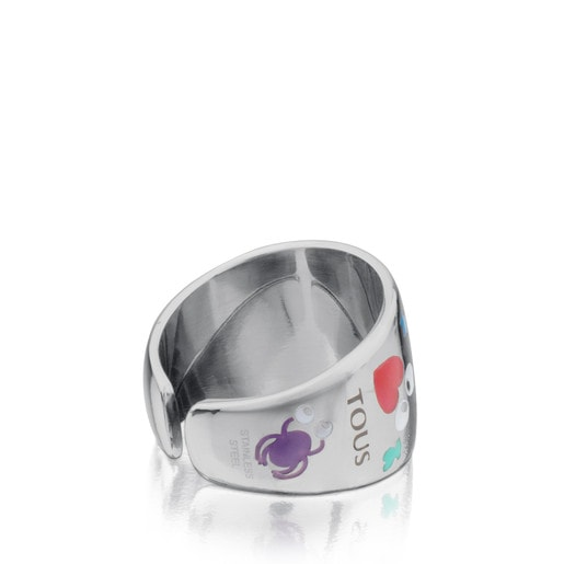 Steel Face Ring with Enamel