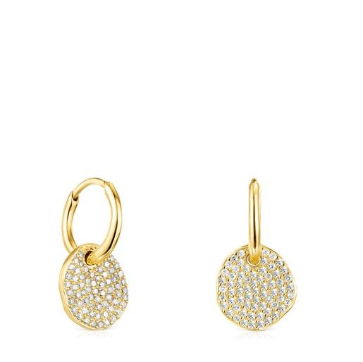 Short Gold Nenufar Earrings with Diamonds