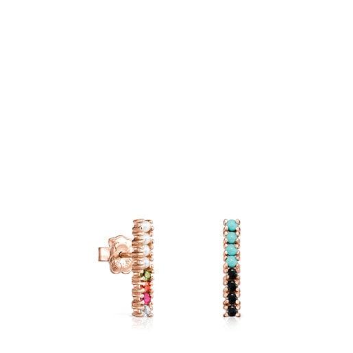Aretes Straight barra de Plata Vermeil rosa con Gemas