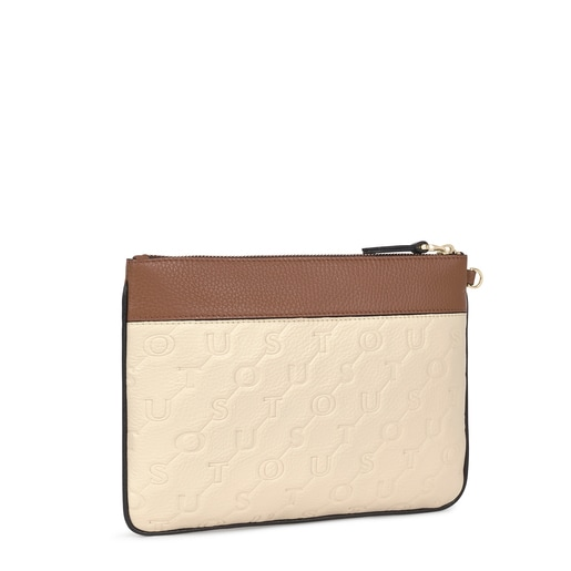 Beige and brown Leather T Script Clutch bag