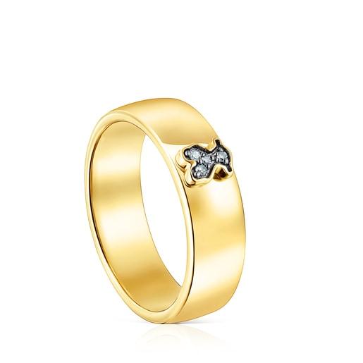 Ring Nocturne aus Vermeil-Silber mit Diamanten-Bär