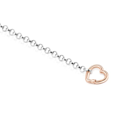 Hold heart Bracelet in Silver and Rose Vermeil