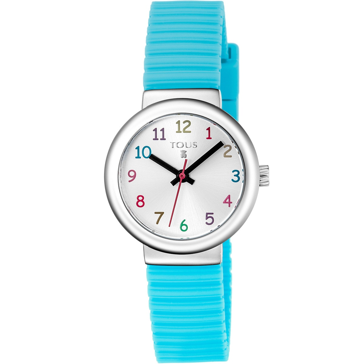 Steel Rainbow Watch with mint Silicone strap