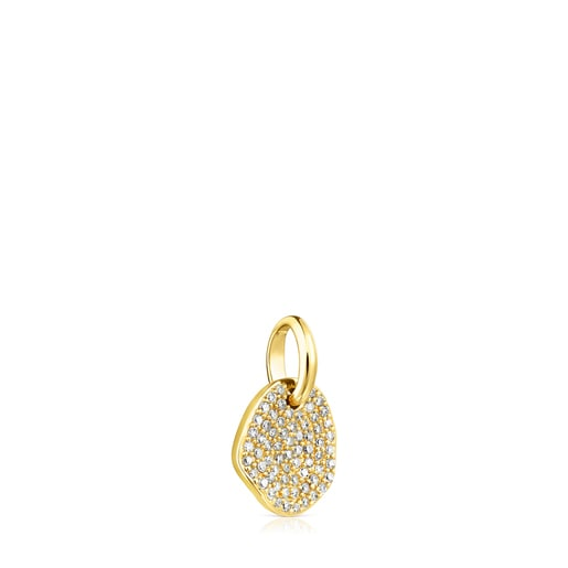 Small Gold Nenufar Pendant with Diamonds