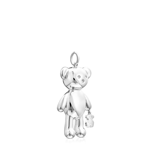 Large Silver Teddy Bear bear Pendant