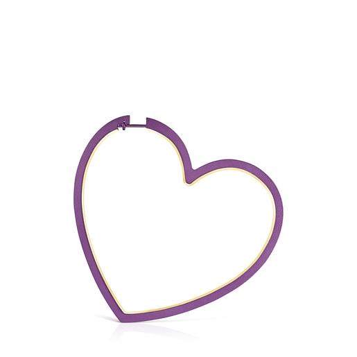 1/2 Arete Silueta corazón de Plata Vermeil y Titanio