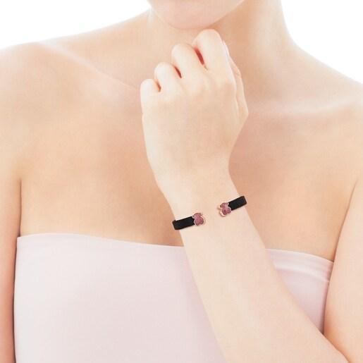 Black IP Steel Mesh Color Bracelet with Rhodonite