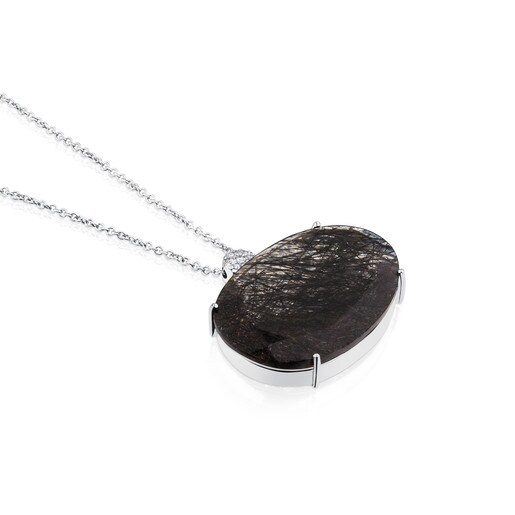 ATELIER Dramatic Jewelry Necklace in white Gold with Diamonds and tourmalinated Quartz