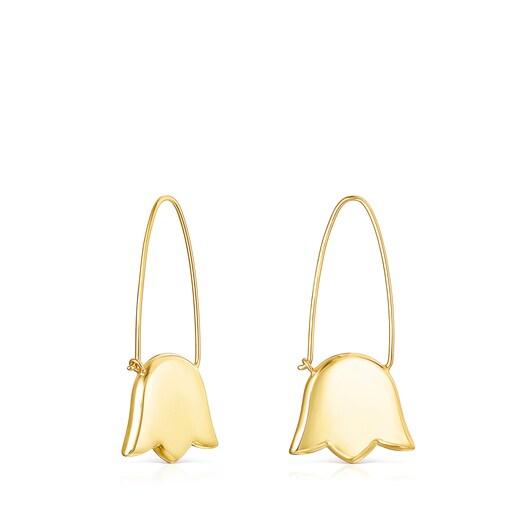 Long Silver Vermeil Sweet Dolls tulip Earrings