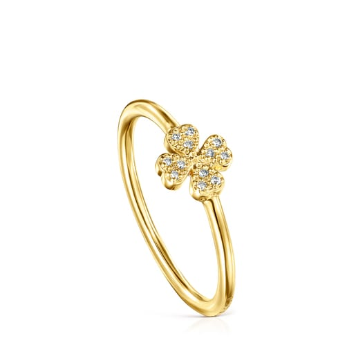 Gold TOUS Good Vibes Ring with Diamonds clover motif