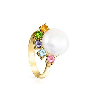 Gold Real Sisy Ring with large Pearl and Gemstones