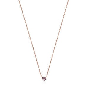 Rose Gold Vermeil San Valentín heart Necklace with Ruby