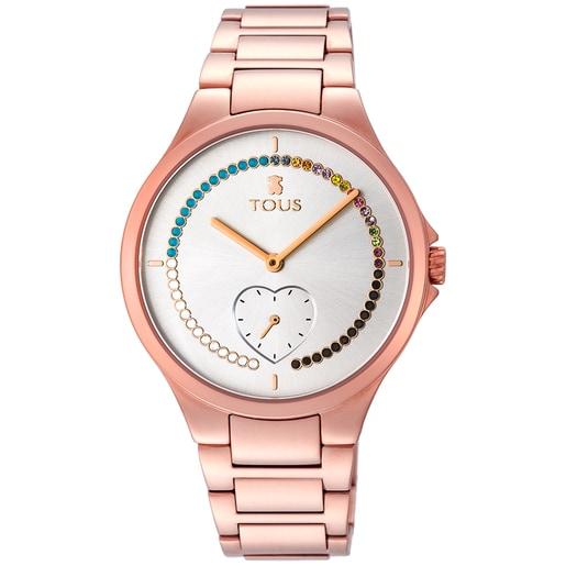 Rellotge Motion Straight cor d'acer IP rosat amb cristalls