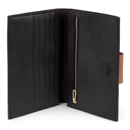 Μεσαίου μεγέθους μπεζ και μαύρο πορτοφόλι Kaos Mini