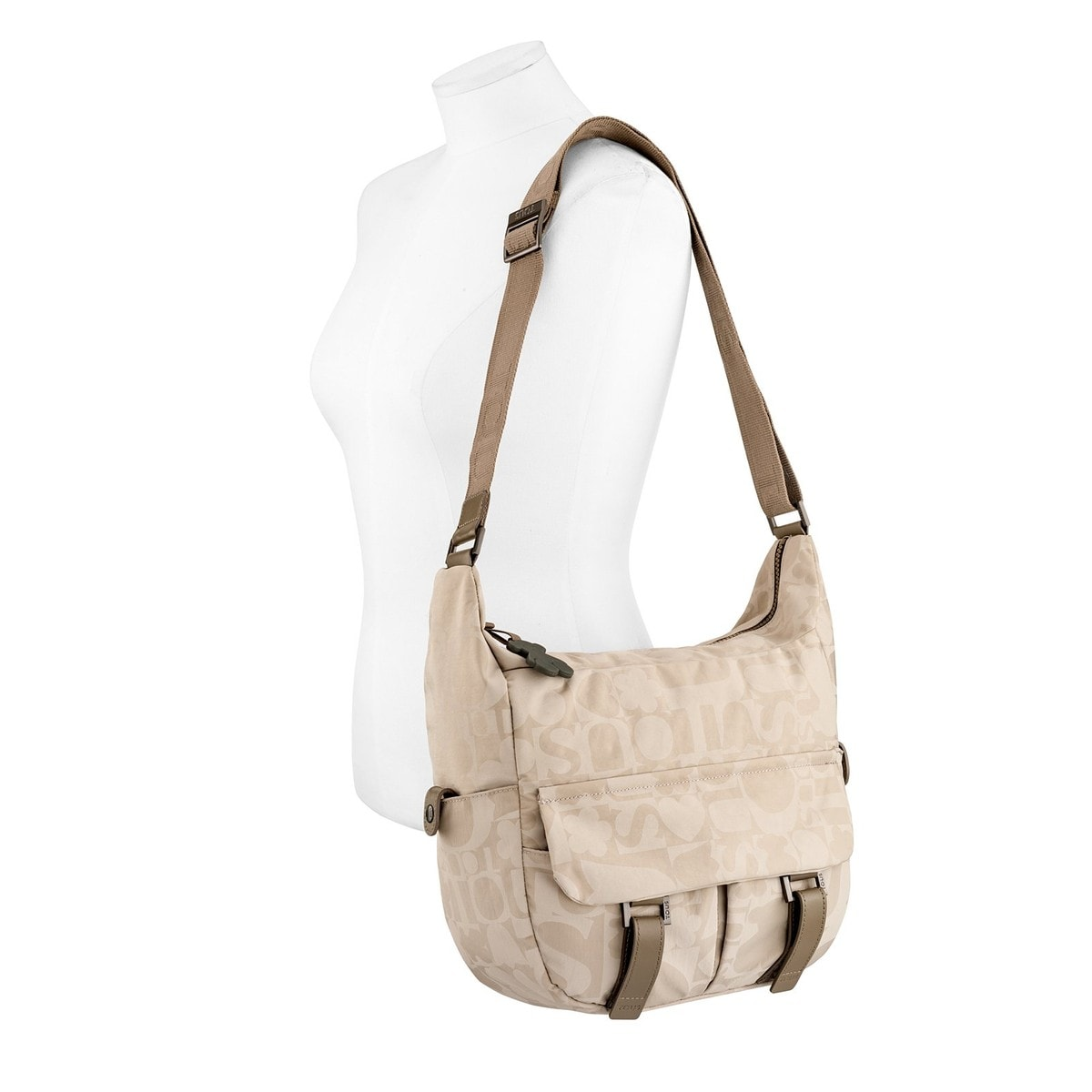 Beige-ivory colored Nylon Cubik Colores Crossbody bag