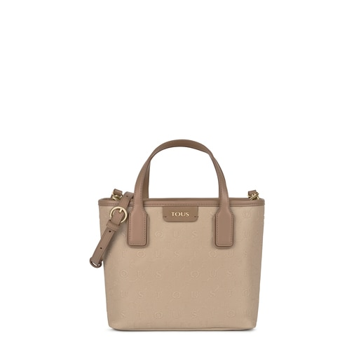 Small taupe colored Script Day Tote bag