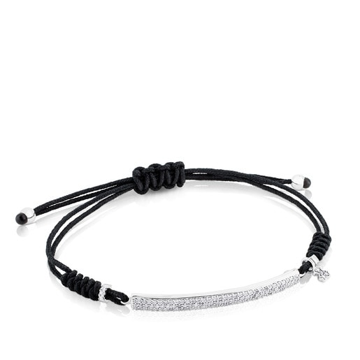 Pulsera TOUS Diamonds de Oro blanco y Cordón en color negro