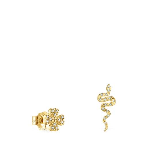 Pendientes trébol y serpiente de oro y diamantes TOUS Good Vibes