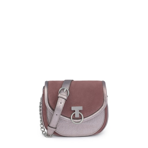 T Hold Chain brown/silver-colored leather crossbody bag