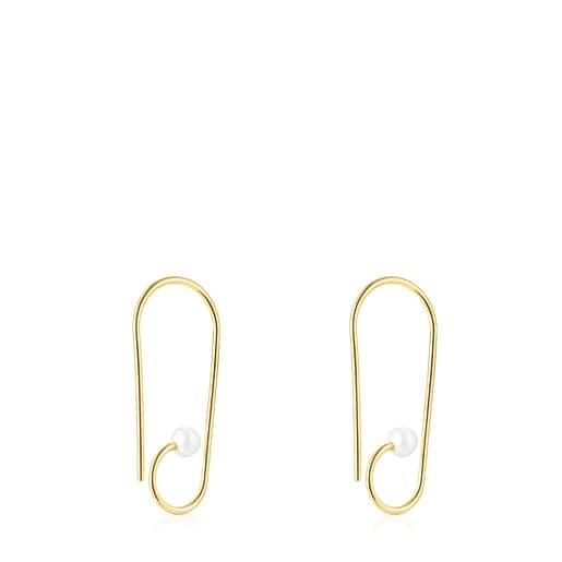 Aretes cortos Nenufar de plata vermeil y perlas