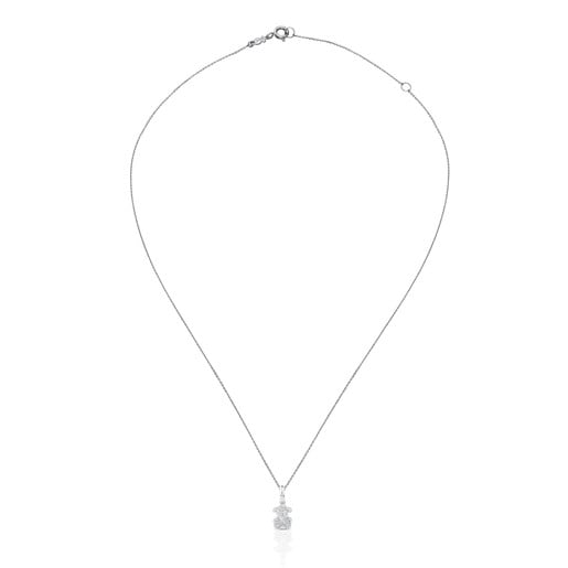 White Gold Tack Necklace with Diamond