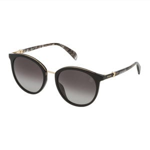 Black Metal and Acetate Metal Mix Round Sunglasses