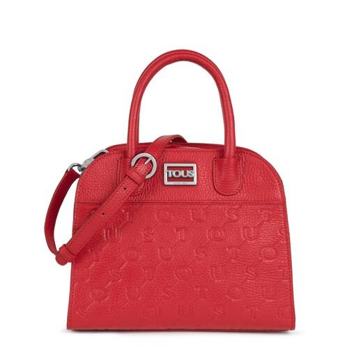 Kleine City-Tasche T Script aus rotem Leder