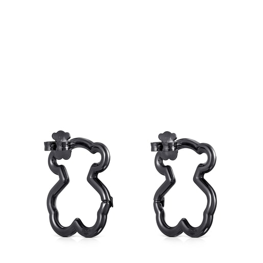 Medium Hold Dark Silver Bear Earrings