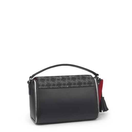 Small Black Leather Bridgy Logogram Crossbody Bag