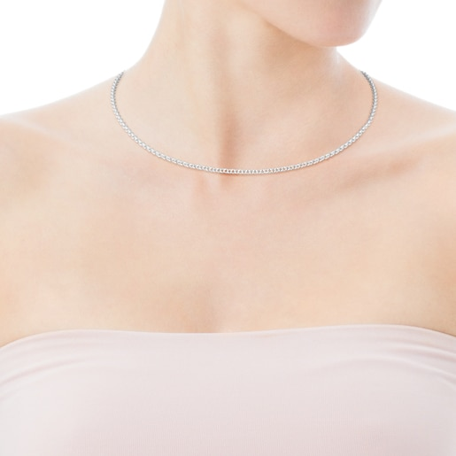 40cm Silver TOUS Chain Choker with round rings.