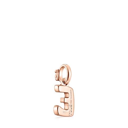 Alphabet letter E Pendant in Rose Silver Vermeil